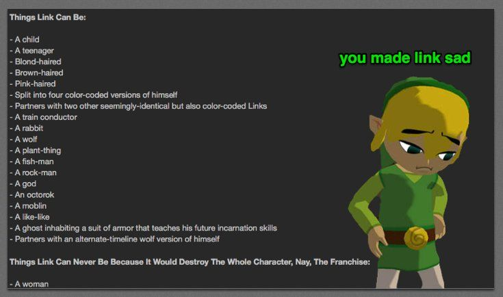 Link can be anything you can possibly imagine... except a girl.