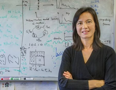 Photo of Sherry Li in front of whiteboard.