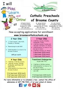 catholic schools broome county early childhood and pre k flyer - catholic-schools-broome-county-early-childhood-and-pre-k-flyer