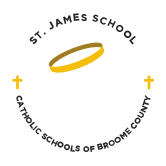st james school catholic school broome county logo - About SCC