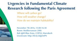 Urgencies in Fundamental Climate Research Following the Paris Agreement - Source: Paulavets, Katsia. ICSU Panel at CoP-22. Digital Image. Erica Key LinkedIn Page, 2016