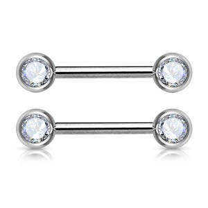 Nipple Bars with Front Facing Gems (Pair)