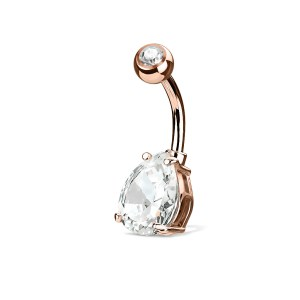 Rose Gold Anodized Titanium Prong Set Navel Curve