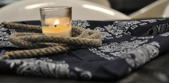 Candles, rope and bandanas dressed the tables at Saturday's Black Tie Calf Fry at the Dawes County Fairgrounds. — Photo by Vera Ulitina