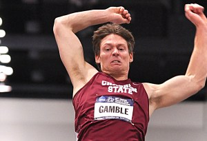 Chadron State College's Brad Gamble scored 5,456 points in the heptathlon at the NCAA Division II National Indoor Track and Field Meet, Albuquerque, N.M. His points set a national record that catapulted him to the top spot in all NCAA divisions. — Courtesy photo by Blake Wood