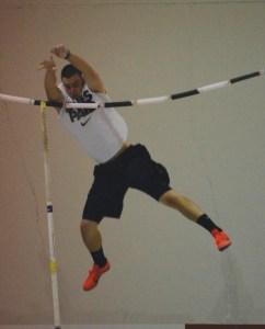 David Jones, freshman of Eaton, Colorado, pole vaults Friday during the intersquad dual at the NPAC. —Photo by Jordyn Hulinsky