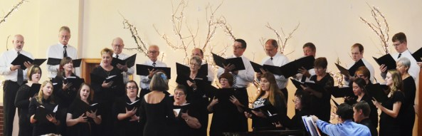 The Community Chorus, consisting of CSC students and Chadron community memebers, sing Sunday during the Community Chorus and Concert Choir concert at the Chadron Arts Center. —Photo by Teri Robinson