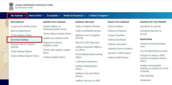 Download E Aadhaar card Survay By UIDAI