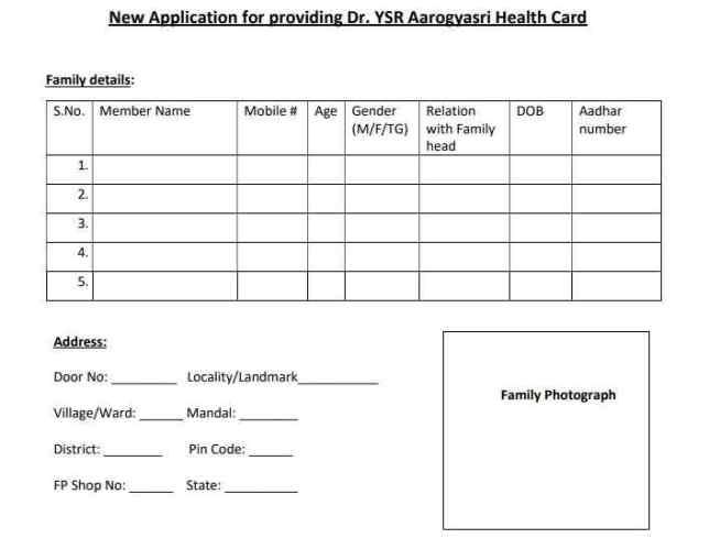YSR Aarogyasri Scheme Health Card application form