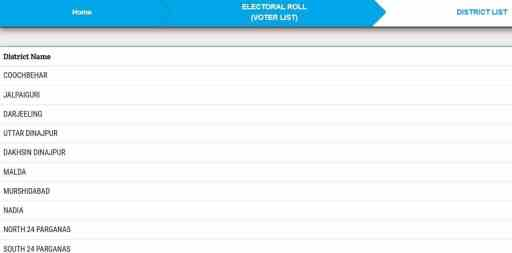 CEO West Bengal Voter List District Wise