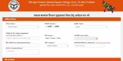 Up Old Age Pension application form