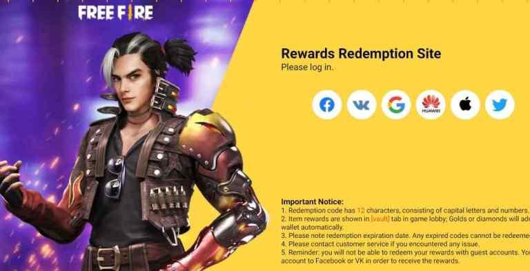 Garena free fire redeem code site