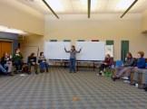 Trainer Jen Kobylecky addresses the group.