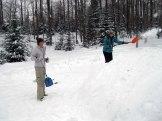 Liana and Emma A., shoveling away.