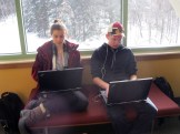 Bri and Grant researching composting