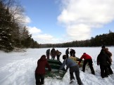 The students find out just how difficult it is to sledge across a slushy lake