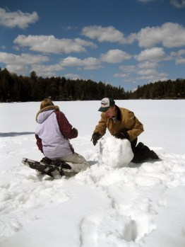 Jennie and Joe had some extra time and decided to build a snowman.