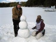 Jennie and Joe's snowman in progress.