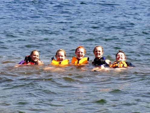 Miranda, Jessica, Nick, Heidi and Michelle enjoying a post canoe float