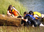 Heavy canoes require teamwork
