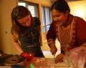 Chloe and Zoe mincing garlic