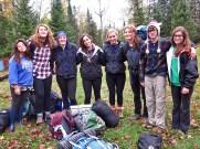 Shani, Maya, Analeise, Talulah, Siri, Sara, Jade, and Marissa at their base campsite.