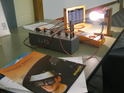 Dr. Saeid's model solar panel was an example of active solar technology. He even left it for the environmental science class!