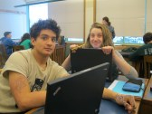 Sticking it out until the very end, Pardo and Maddie take a quick breather in Math class!