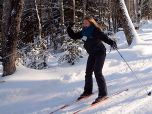 Skiing in Field Instruction class