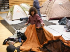 Tim checking in his tent after solos