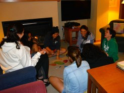 Grad Fellow Annie leads a small group discussion in Elaine House
