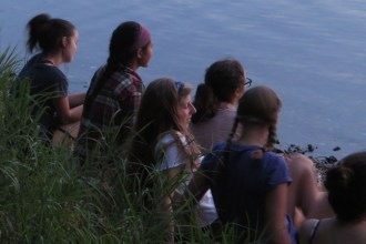 Watching the sunset from the shore of Big Donahue Lake