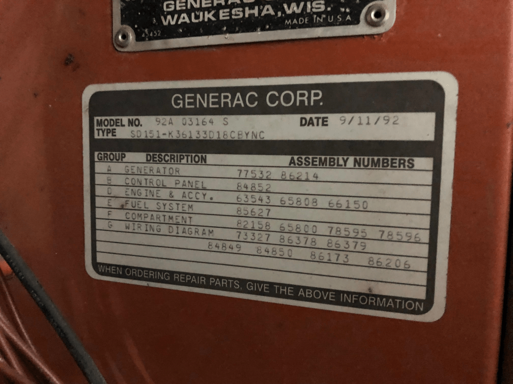 medium resolution of used generac sd0150 portable trailered diesel generator 998 hrs 150 kw 0 price csdg