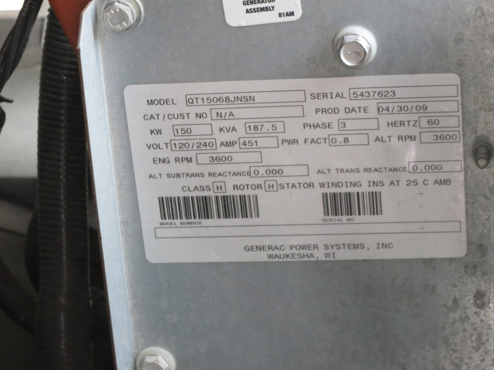 medium resolution of used generac qt150 natural gas generator 105 hrs 150 kw 0 price csdg