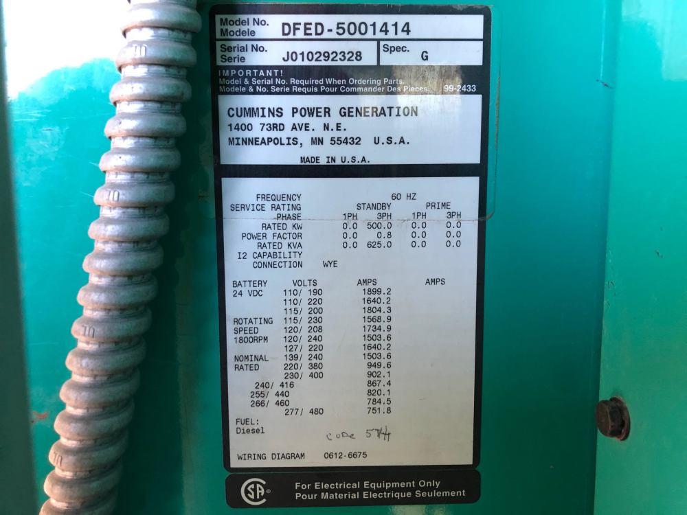 medium resolution of used cummins dfed kta19 g4 diesel generator 341 hrs 500 kw 0 price csdg