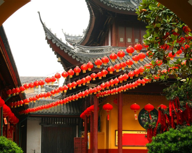 Chinese Lanterns in front of a Beautiful Chinese temple