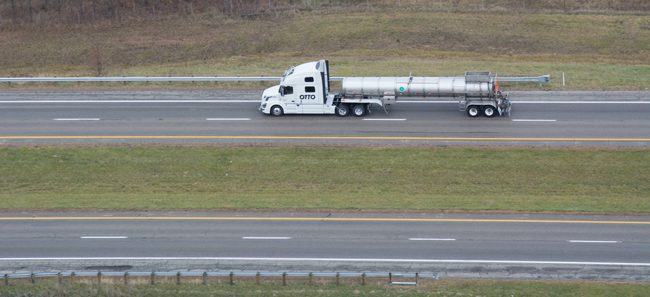 A self-driving truck operated by Otto, a developer of self-driving vehicle technology, traveled from Dublin to East Liberty, Ohio, on the U.S. Route 33 Smart Mobility Corridor. Otto also plans for its truck to drive on the Ohio Turnpike later this week.