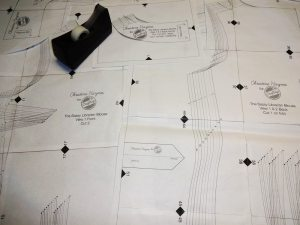 Taped together PDF pattern for the Sassy Librarian Blouse by Christine Haynes