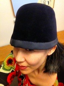 Dark blue vintage hat trimmed with petersham ribbon