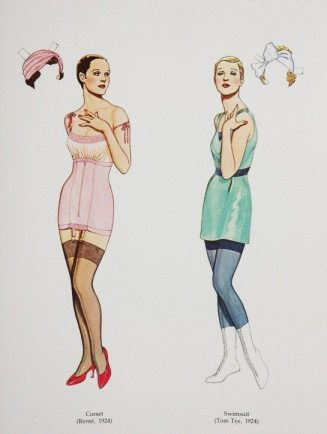 The dolls - the one on the left is wearing a corset and the other, a swimsuite