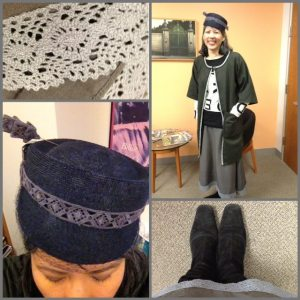 Day 28: I made this jacket - The Trench - from Christine Haynes book Chic & Simple Sewing. I made the bias tape for it as well. The skirt is RTW but I added the lace trim.