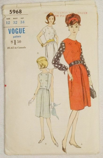 Vogue dress pattern 5968, 1960s (no date)