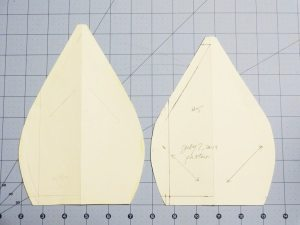 Draft pattern pieces for 6-section cap