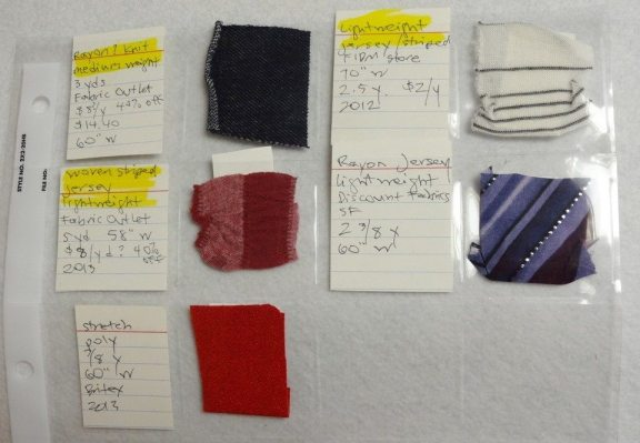 knit fabric swatches