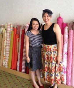 Kathy of the Nerdy Seamstress and Chuleenan wearing Me Made May skirts