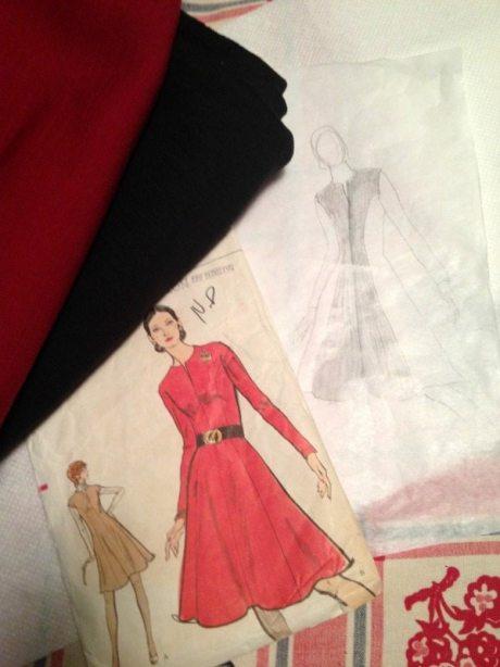 knit wool color block - vintage Vogue dress - csews.com