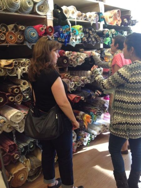 Bay Area Sewists browse at Britex Fabrics