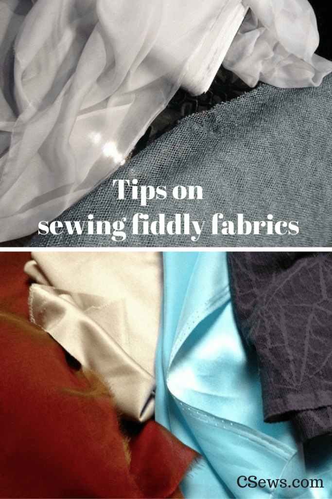 Tips on sewing fiddly fabrics - silk cihiffon, silver mesh, stretch lace and more - a Bay Area Sewists meetup at Britex Fabrics
