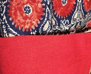 Red linen contrast band - Chardon skirt - csews.com