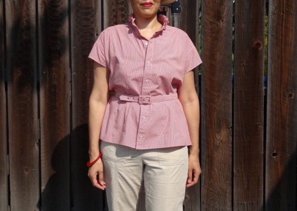 Refashioned shirt - front view with belt - Get Shirty - csews.com